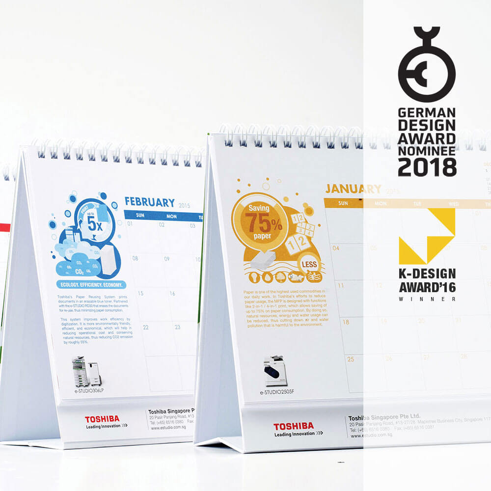 k-design award winner 2016 and German Design Award 2018 - Toshiba calendar design by Ideas People